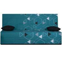 SPLOT Banquette clic-clac 3 places - Tissu Poly Bleu - Style ethnique - L 190 x 95 cm