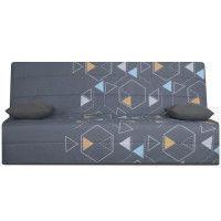 SPLOT Banquette clic-clac 3 places - Tissu Poly Gris - Style ethnique - L 190 x 95 cm