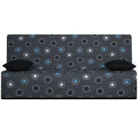 SPLOT Banquette clic-clac 3 places - Tissu Bleu Star - Style ethnique - L 190 x 95 cm