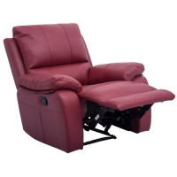 ALFRED Fauteuil de relaxation electrique en cuir et simili rouge - Contemporain - L 92 x P 94 cm