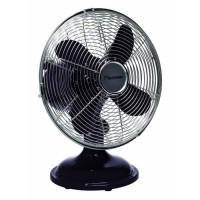 BESTRON Version Retro: Ventilateur de Table - Panier 30cm - Noir - 30W - Debit dair 25,40m3/min. - Vitesse de lair 2,47m/sec