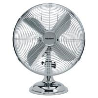 TECHWOOD Ventilateur de Table Chrome? 30 cm - 3 Vitesses de ventilation - Fonction oscillation de?brayable - 4 Pales en aluminiu