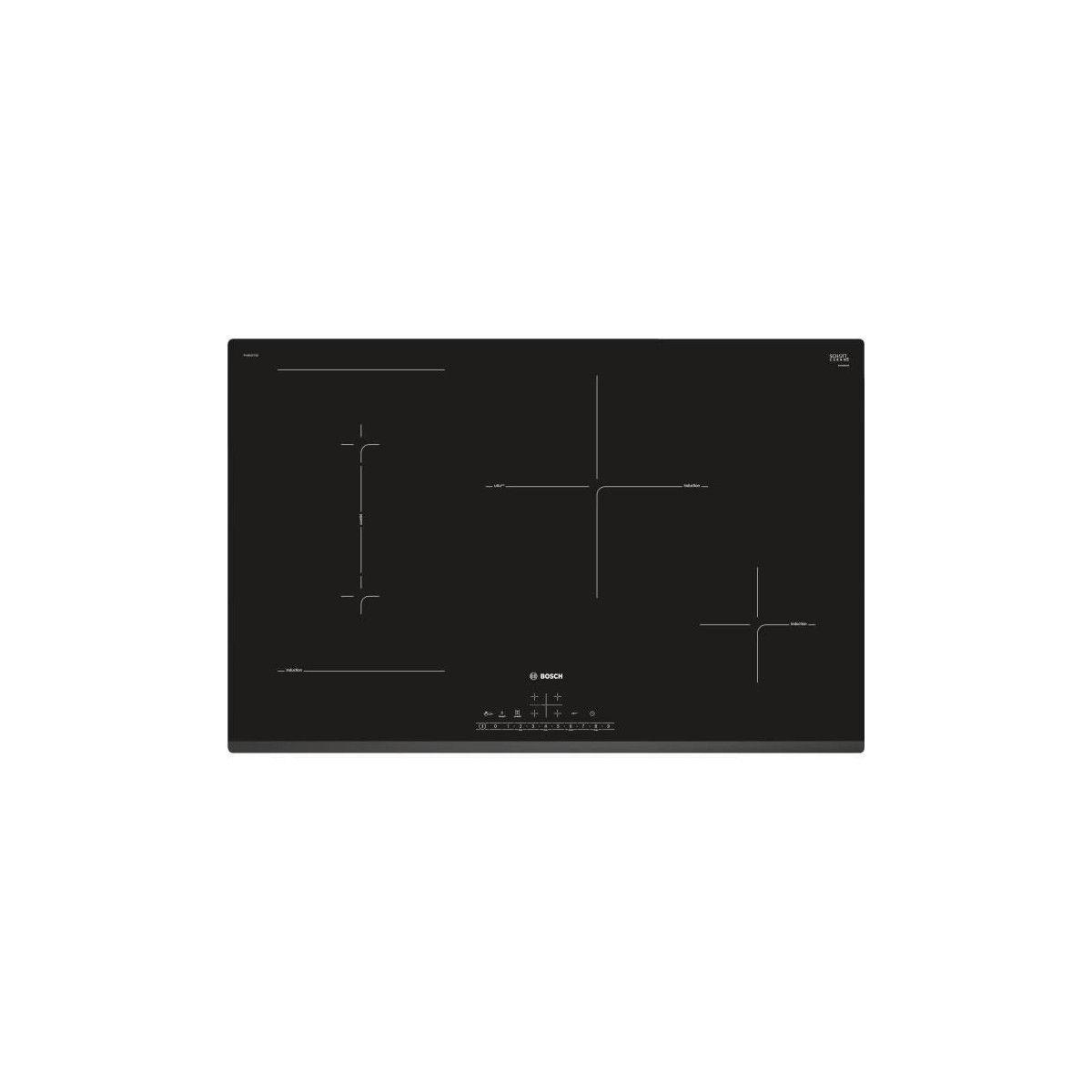 Table Induction Ou Vitrocéramique bosch - pvs831fc5e - table induction - 4 foyers - 2200w - vitroceramique -  noir