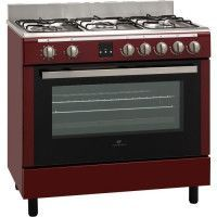 CONTINENTAL EDISON - Cuisiniere piano gaz - four catalyse 101L - affichage digital - L 60 x H85 cm - ROUGE BORDEAUX