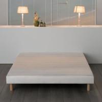 Sommier tapissier a lattes 160 x 200 - Bois massif blanc + pieds - FINLANDEK Rakenne