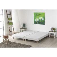 Sommiers tapissiers a lattes x 2 - 160 x 200 - Bois massif blanc + pieds - FINLANDEK Rakenne