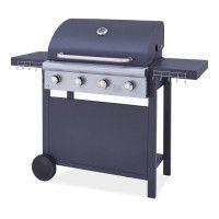 Barbecue a gaz 4 feux - Acier emaillee - Noir