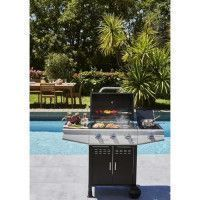 COOKING BOX Barbecue a gaz Paarl - 3 feux +1 lateral - Grilles emaillees - 52 x 34 cm