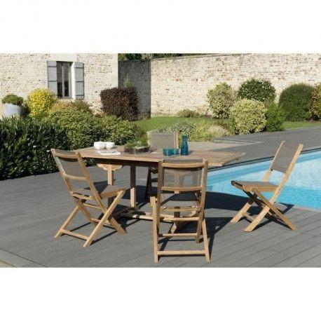 Ensemble Repas de jardin en teck Bora - 1 table rectangulaire 120-180 x 90  cm + 4 chaises pliantes textilene - Gris taupe