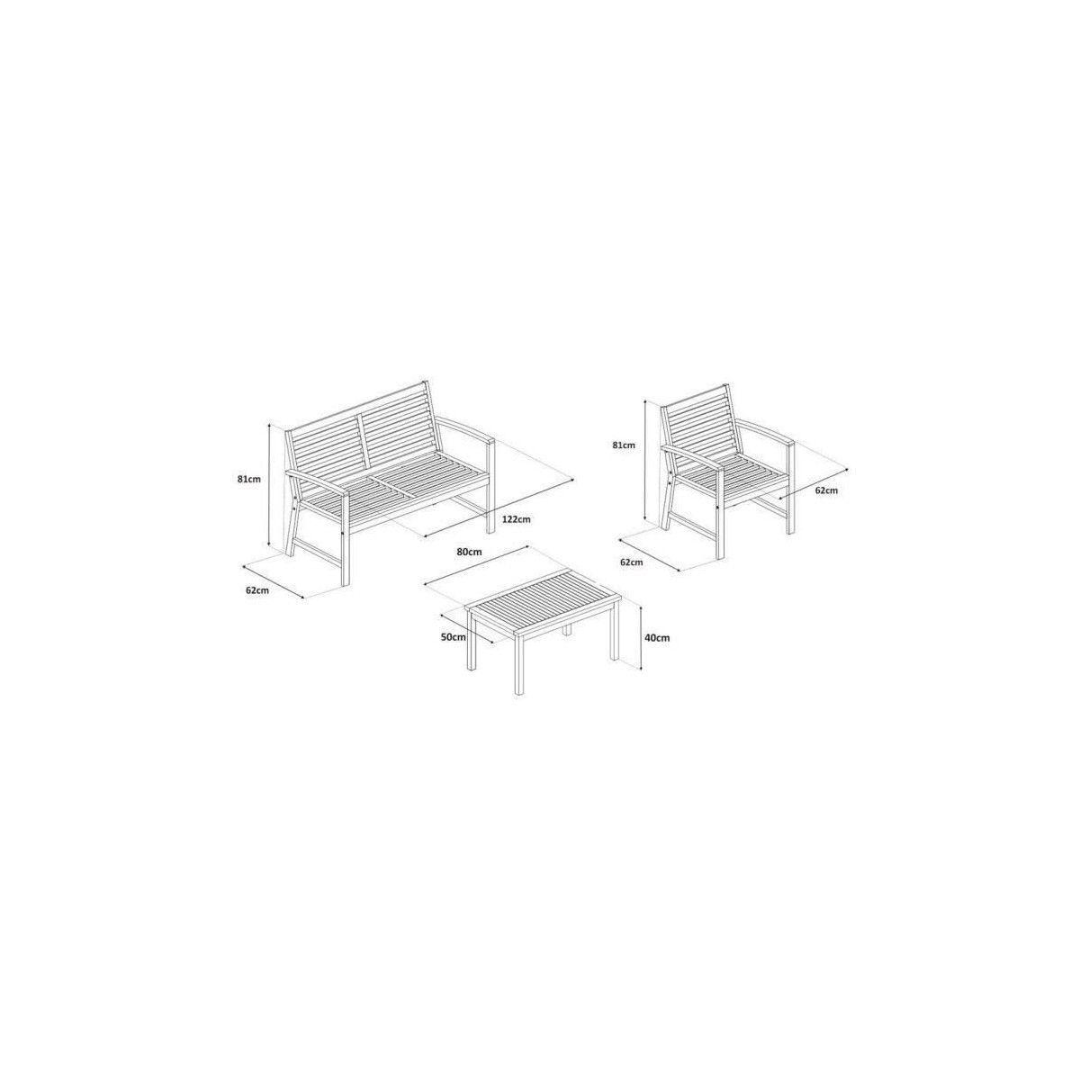 FINLANDEK - Salon de jardin 4 places en acacia - Gris - LOMA