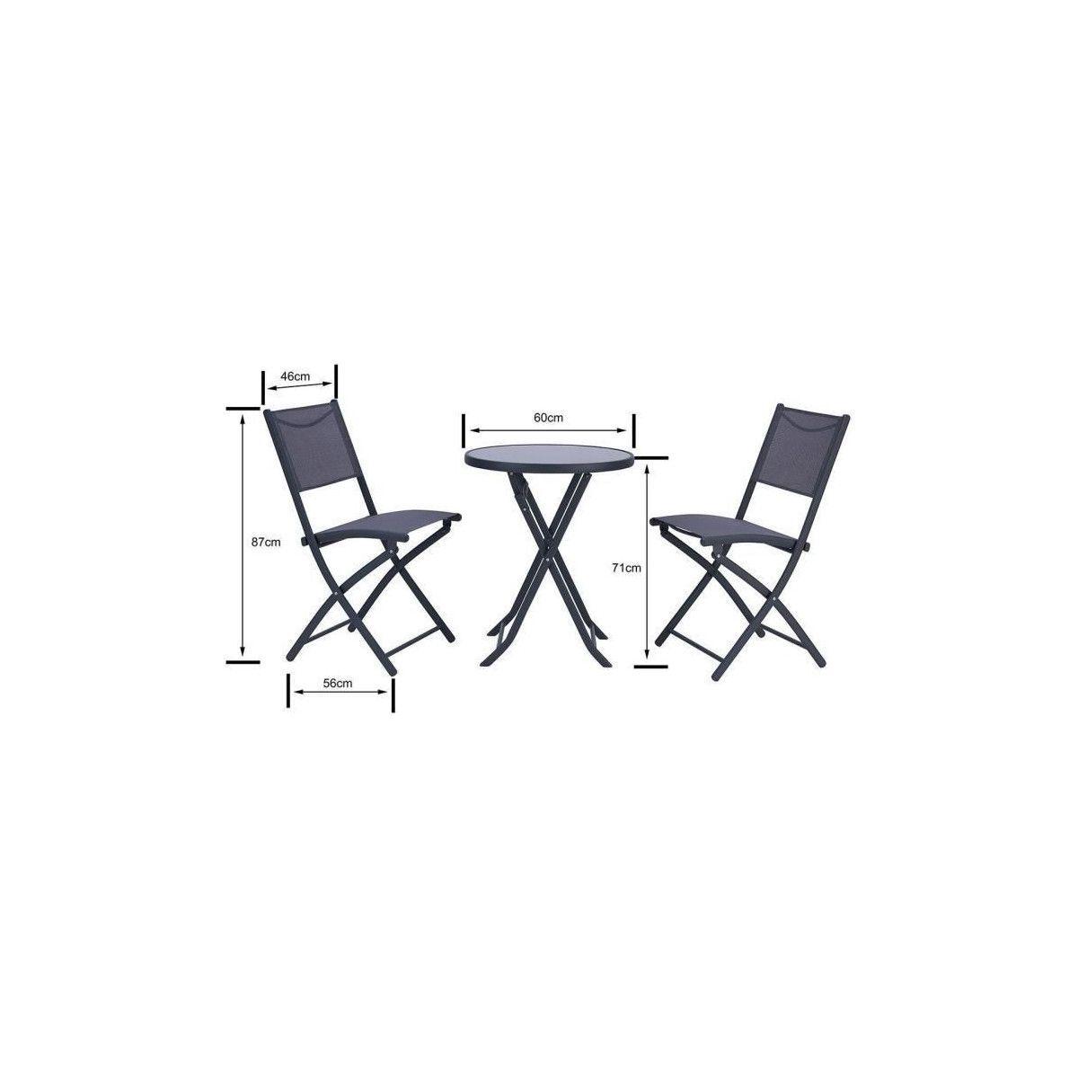 FINLANDEK - Ensemble salon de jardin 2 places - Table ronde ...