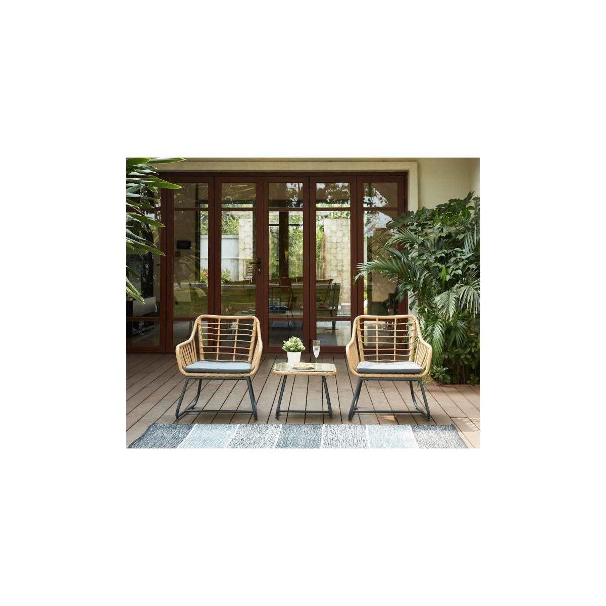 CAP Salon de jardin 2 places en resine imitation rotin avec ...