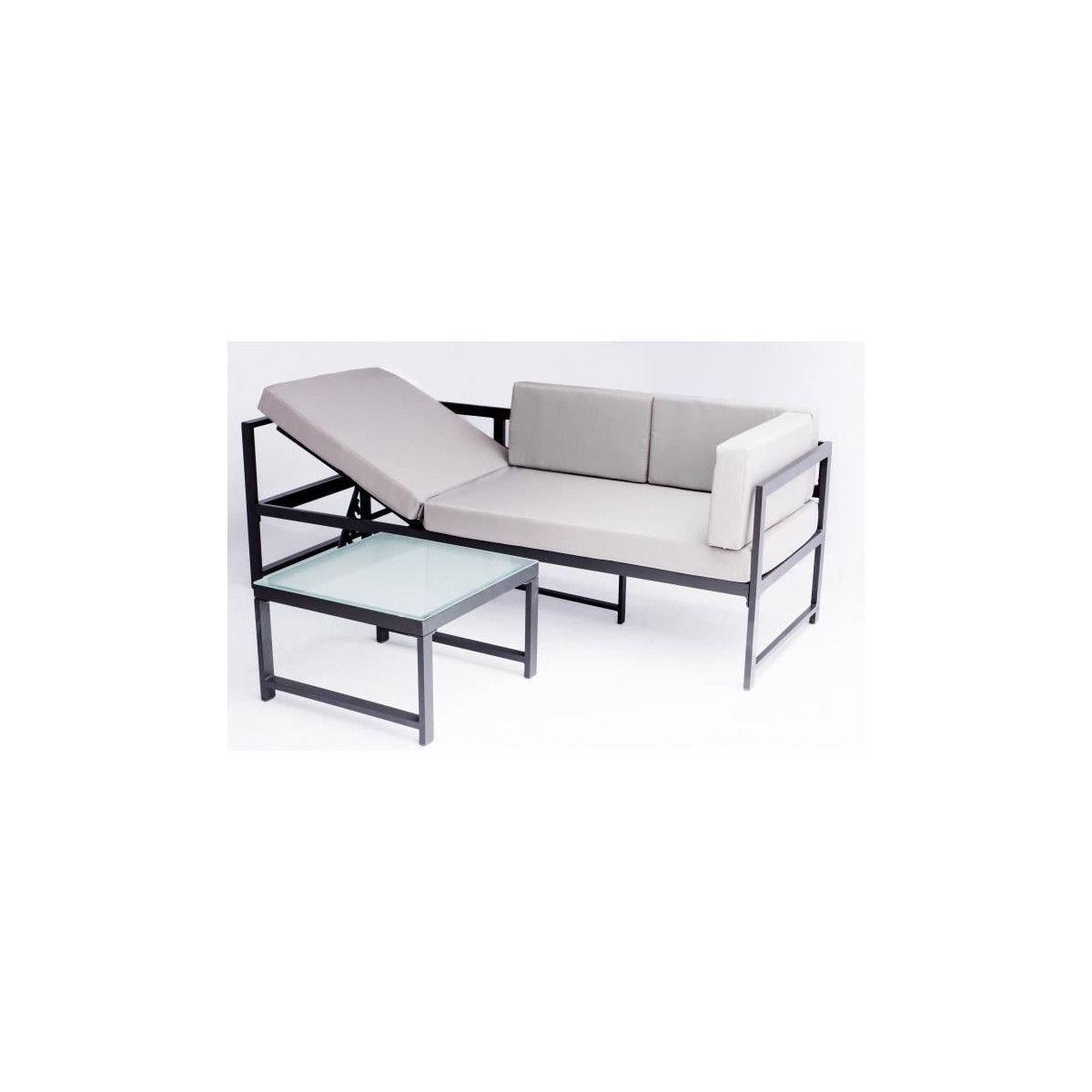 NIMOS Salon de jardin en aluminium 5 places - Gris - BEAU RIVAGE