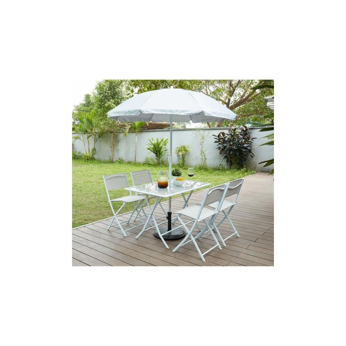 Ensemble en table en en polyester 110 70 verre4 chaises acier parasol cm x SAMOA Gris plateau x avec et 70 2WIHE9eDY