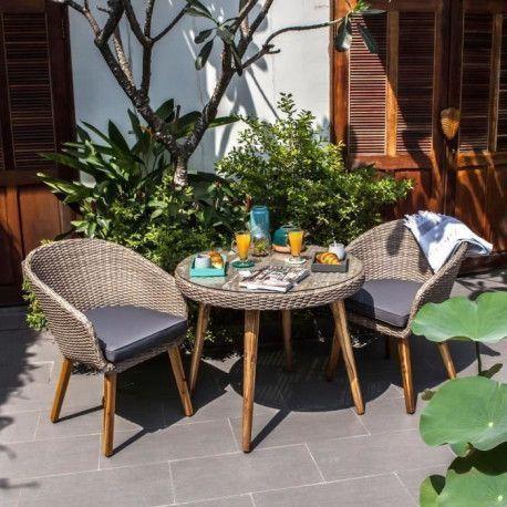 Ensemble de mobilier de jardin 2 places - 1 table et 2 fauteuils - Resine  tressee et bois et acacia