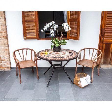 Meuble de jardin - Table de jardin acier et mosaique en ceramique ronde - O  110 cm