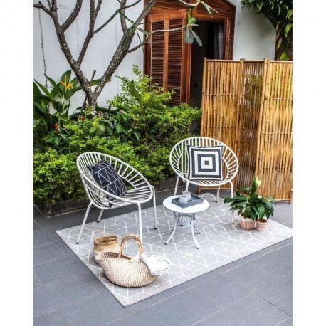 OPOA Salon de jardin 2 places - 2 fauteuils et une table basse en metal -  Blanc