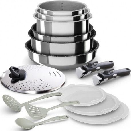 BACKEN 399915 - Batterie de cuisine 15 pieces inox - Tous feux dont induction