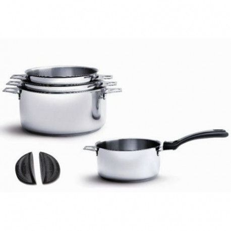 DE BUYER - 3491.04 - Lot 4 casseroles + 1 Queue amovible + 2 Anses - TWISTY - O 14cm + 16cm + 18cm + 20cm