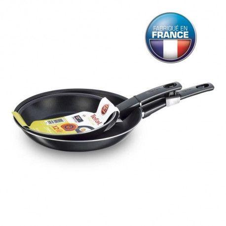 TEFAL B3049902 Lot de 2 poeles 26/30 cm First Cook - Noir