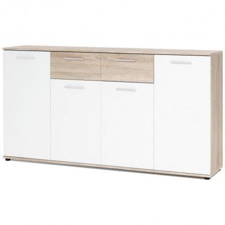 JACKY Buffet bas classique blanc et decor chene mat - L 160 cm