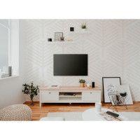 BERGEN Meuble TV 2 tiroirs - Decor chene artisan et blanc - L 160 x P 45 x H 40 cm