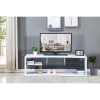 Meuble TV incurve en bois laque blanc - Etagere en verre - L 140 x P 40 x H 45 cm
