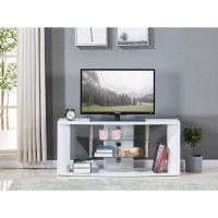 Meuble TV en bois decor sonoma blanc - Etagere en verre - L 119 x P 39,5 x H 50 cm