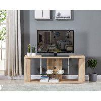 Meuble TV en bois decor sonoma naturel - Etagere en verre - L 119 x P 39,5 x H 50 cm