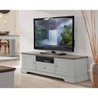 DESSY Meuble TV classique decor blanc mat - L 139 cm