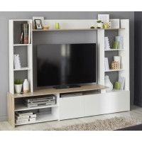 OREGON Meuble TV decor Chene et blanc - L 197cm