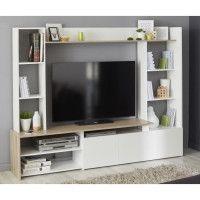 OREGON Meuble TV decor Chene et blanc - L 197cm
