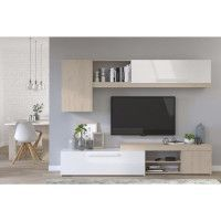 BACKSTAGE Meuble TV - Decor Chene Jackson et blanc brillant - L 250cm