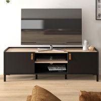 AMSTERDAM Meuble TV - Style industriel - Decor chene noir - L 136 x P 40 x H 44 cm