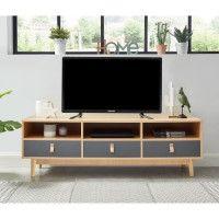 CAMBRIDGE Meuble TV poignees en cuir - Decor chene clair et gris fonce