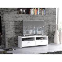 FINLANDEK Meuble TV HELPPO contemporain blanc mat - L 95 cm