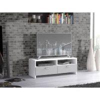 FINLANDEK Meuble TV HELPPO contemporain blanc et gris mat - L 95 cm
