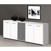 FINLANDEK Buffet bas PILVI contemporain blanc et gris mat - L 179 cm