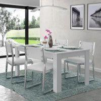 FINLANDEK Table a manger KOVA 6 personnes contemporain blanc mat - L 160 x l 90 cm