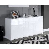 POLARIS Buffet contemporain laque blanc brillant - L 160 cm