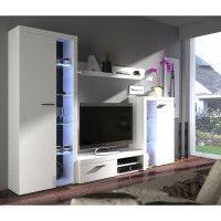 RUMBA Meuble TV contemporain blanc mat - L 120 cm