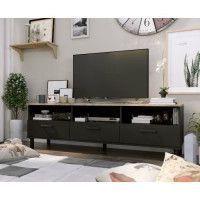 OXFORD Meuble TV decor noir et chene - Style industriel - L 158 x P 40 x H 47 cm