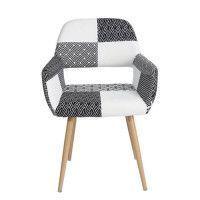 CROMWELL Fauteuil en tissu noir et blanc - Style ethnique - L 56 x P 56 x H 78 cm
