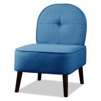 DAISY Fauteuil pieds bois - Tissu bleu jean - L 52 x P 67 x H 76 cm