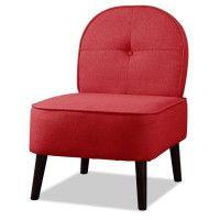 DAISY Fauteuil pieds bois - Tissu rouge - L 52 x P 67 x H 76 cm