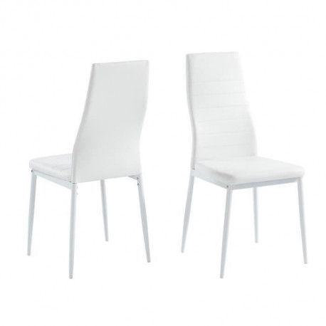 SAM Lot de 2 chaises de salle a manger - Blanc - Pieds en metal - 41 x 54 x 96 cm