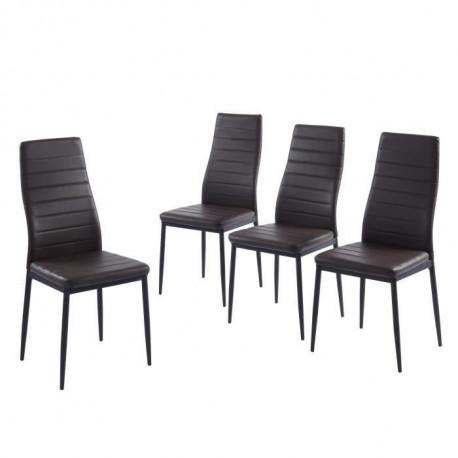 SAM Lot de 4 chaises de salle a manger - Chocolat - Pieds en metal - 41 x 54 x 96 cm