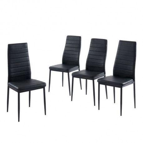 SAM Lot de 4 chaises de salle a manger - Noir - Pieds en metal - 41 x 54 x 96 cm