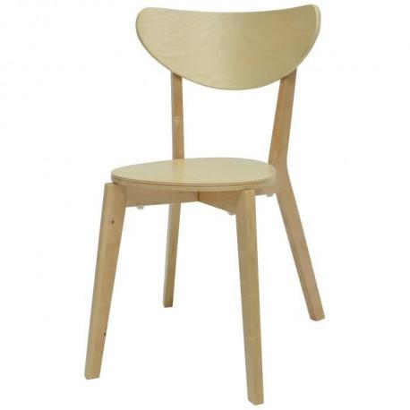 SMILEY Chaise de salle a manger en bois coloris bois naturel - Scandinave - L 37,5 x P 39,5 cm