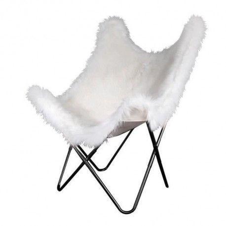 BIRDY Fauteuil Papillon - Blanc Imitation Fourrure - L 74 x P 79 x H 101 cm